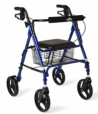 2. Medline Blue Folding Rollator Walker