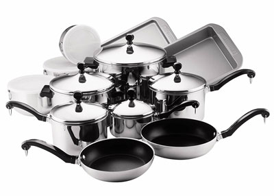 7. Faberware 17-Piece Stainless Steel Cookware Set