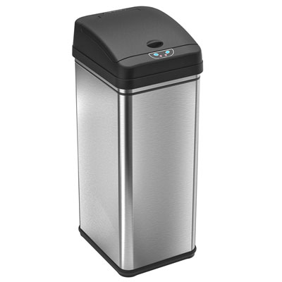 3. iTouchless 49 Liter/13 Gallon Stainless Steel Trash Can