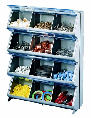 8. Stack-On CB-12 Clear View 12-Bin Organizer