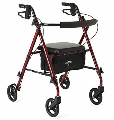 3. Medline Freedom Burgundy Folding Rollator Walker