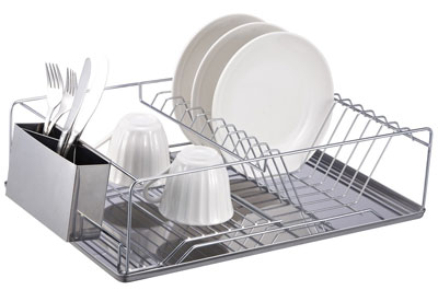 6. Home Basics Stainless Steel Chrome Dish Rack