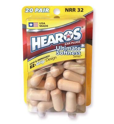 2. Hearos Earplugs (20-pair)