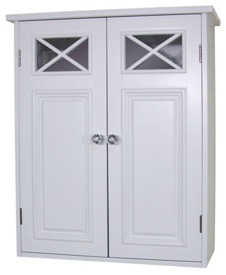 9. Elegant Home Fashions White Shelved Wall Cabinet