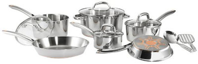 3. T-fal C836SC 12-Piece Stainless Steel Cookware Set
