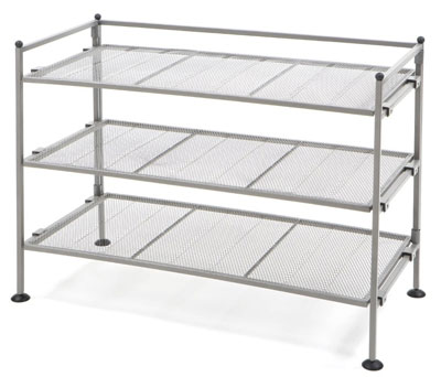 6. Seville Classics 3-Tier Satin Pewter Shoe Rack