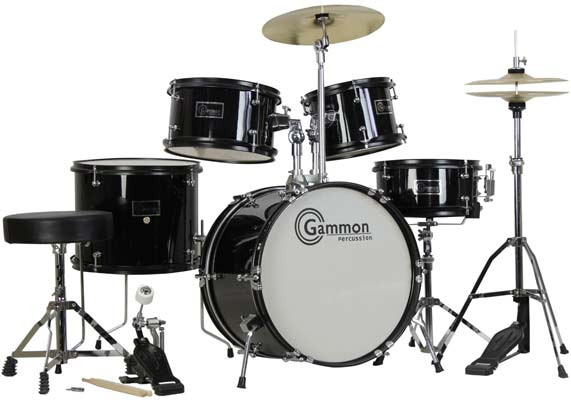 6. Complete 5-Piece Black Junior Drum Set