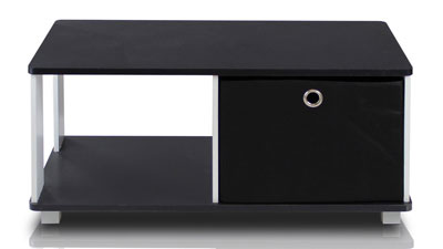 7. Furinno 99954BK/BK Coffee Table with Bin Drawer (Black & White)