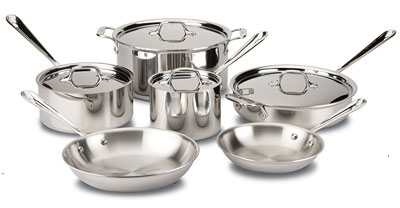 5. All-Clad 401488R 10-Piece Stainless Steel Cookware Set