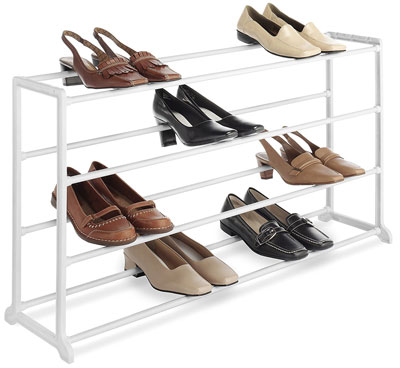 4. Whitmor 4 Tier 20 Pair White Shoe Rack