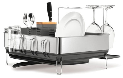 2. simplehuman Stainless Steel Dish Rack with Wine Glass Holder