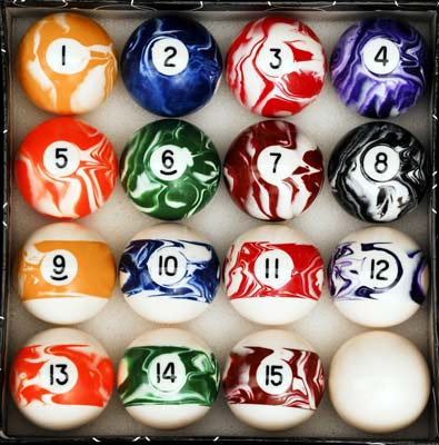 5. Iszy Billiards Pool Table Ball Set (Marble/Swirl Set)