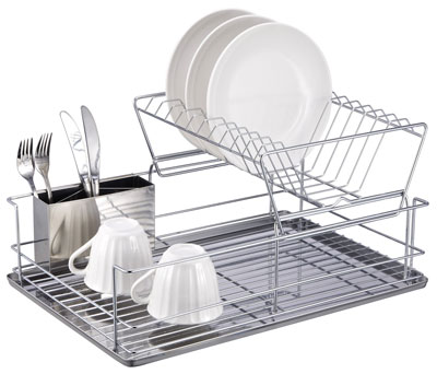 8. Home Basics 2-Tier Dish Rack with Removable Utensil Cup