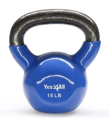 4. Single Vinyl Coated Kettlebell by Yes4All