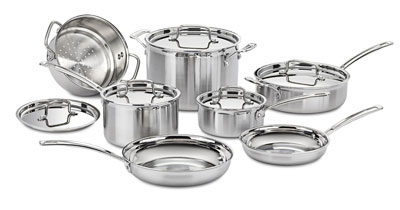 1. Cuisinart MCP-12N 12-Piece Stainless Steel Cookware Set