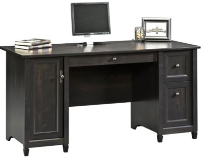 7. Sauder Estate Black Computer Desk (Edge Water)