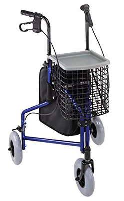 8. Duro-Med Royal Blue Folding 3 Wheel Rollator Walker