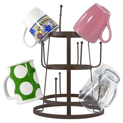 1. MyGift Mug Organizer Tree Drying Rack Stand (Brown)