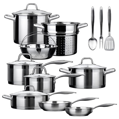 8. Secura SSIB-17 17 Piece Stainless Steel Cookware Set