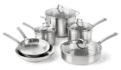 2. Calphalon 10-piece Stainless Steel Cookware Set