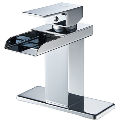 1. Eyekepper Chrome Finish Single Handle Waterfall Bathroom Sink Faucet