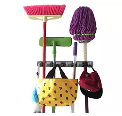 4. Champ Grip 5 Ball Slots and 6 Hooks Mop Broom Holders