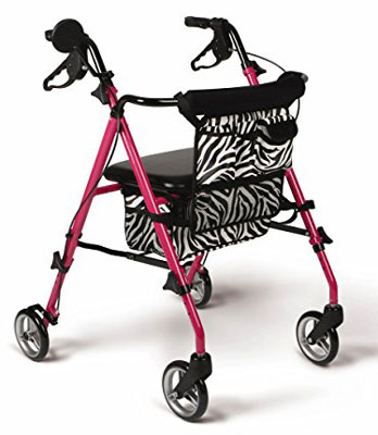 9. Medline Posh Premium Pink Folding Rollator Walker