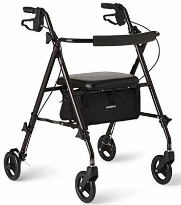 7. Medline Freedom Black Folding Rollator Walker