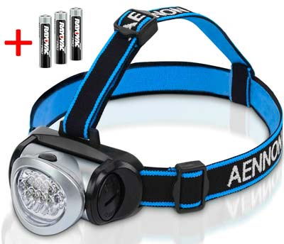 3. Headlamp Flashlight with Red LED Light