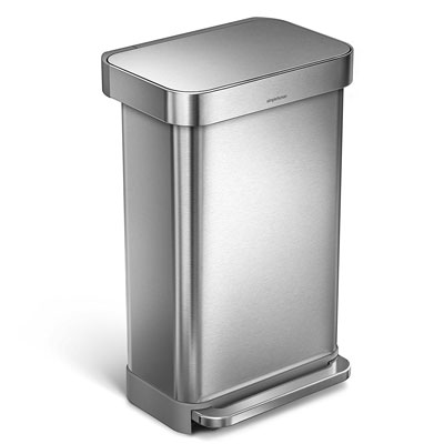 1. simplehuman 45L Trash Can with Liner Pocket