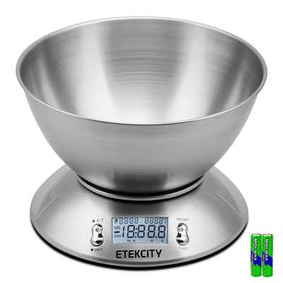 2. Etekcity Digital Food Scale with Removable Bowl