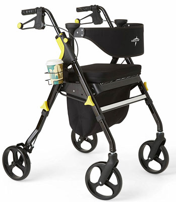 5. Medline Black Folding Rollator Walker (Premium Empower)