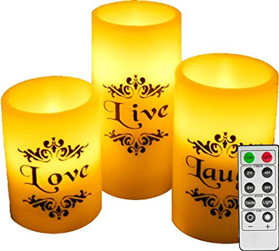 7. Easy Gift Ideas Set of 3 Flameless Candles