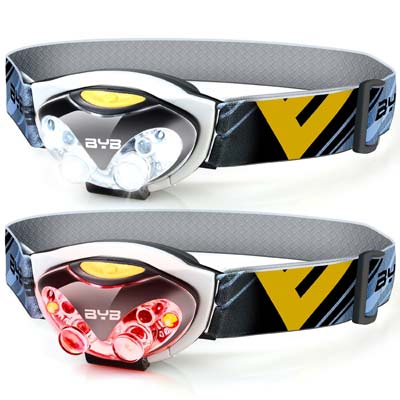 9. Pack of 2, BYB E-0460 LED Headlamp Flashlight