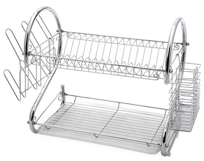 5. Juvale 2-Tier Chrome Dish Drying Rack