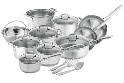 4. Chef's Star 17-Piece Stainless Steel Cookware Set