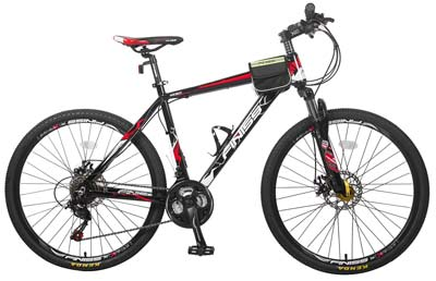 4. Merax Aluminum Mountain Bike (Classic Black & Red)