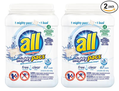 8. all Mighty Pacs Free Clear 67 Count Laundry Detergent (Pack of 2)