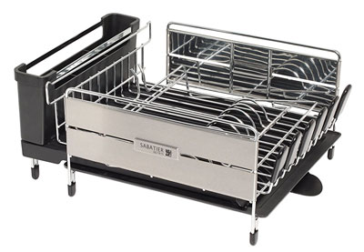 10. Sabatier Black Stainless Steel Dish Rack with Wine Glass Holder