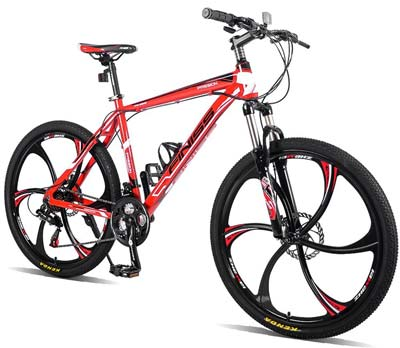 7. Merax Mountain Bike (Passion Black & Red)