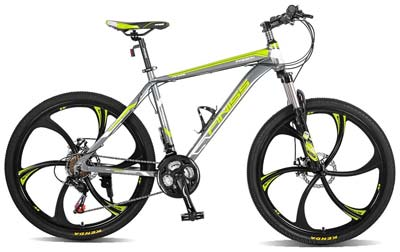 3. Merax Mountain Bike (Classic Gray & Green)