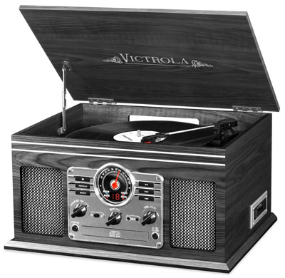6. Innovative Technology Bluetooth Turntable (Classic Wood 6-in-1)