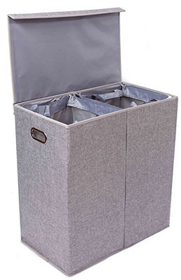 1. BirdRock Home Laundry Hamper (Double)