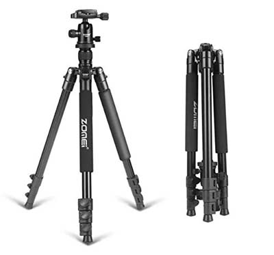 3. ZOMEI Camera Tripod with Bag and Ball Head