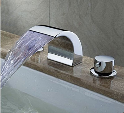 6. Senlesen Double Handles Waterfall Bathroom Sink Faucet (Deck Mount)