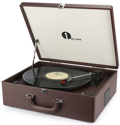 2. 1byone Suit-case Bluetooth Turntable with Speaker