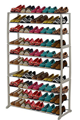 8. Brightown 10-Tier 50 Pairs White Shoe Rack
