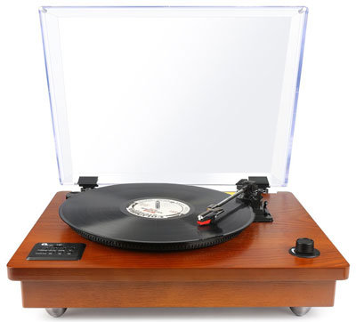 3. 1byone Natural Wood Bluetooth Turntable