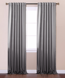 Best Home Fashion Thermal Blackout Curtain-Grey-Back tab/rod pocket