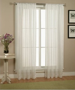 Piece Solid White Sheer Window Curtains